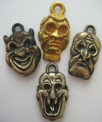 VINTAGE Metal Clad Plastic SCARY MONSTER FACE Gumball Charm Prize Lot of 4