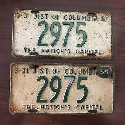 1955 Washington, DC License Plates - 1954 Base with 1955 Date Tab