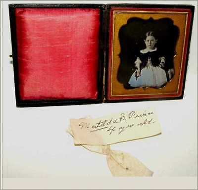 Daguerreotype Photo 6th Plate Matilda B Puree 4 Yrs Old w Note & Dress Bow