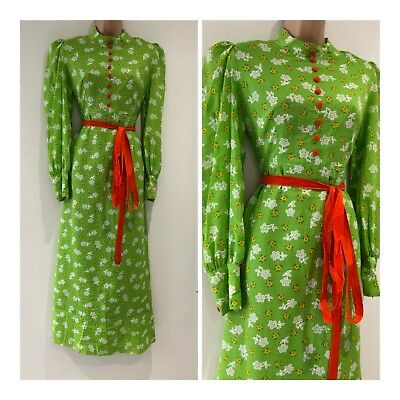 Vintage 70's Green White & Yellow Floral Belted Boho Prairie Maxi Dress 10-12
