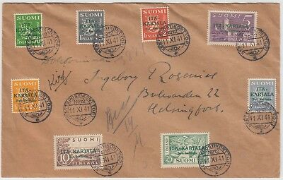 1941 FINLAND OCCUPATION of EASTERN KARELIA set on cover with KENTTAPOSTIKON No12