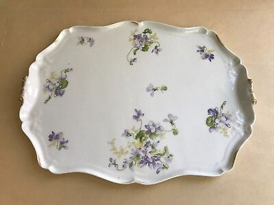 Large Antique Limoges Perfume Or Tea Tray Violets Purple Flower C Ahrenfeldt