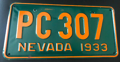 License Plate Sale: NEVADA 1933 Mint ** Den Bar Garage Man Cave Art