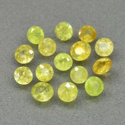 15pcs Lot 5.00ct t.w Round Natural Yellowish Green Sphene, Super Sparkles