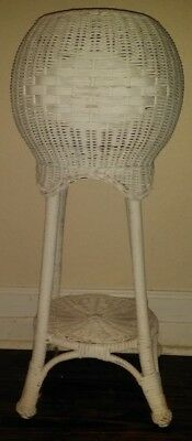 "Antique Vintage Plant Stand Wicker Rattan Large Plants 30"" T 13"" W  EXTRA NICE!"