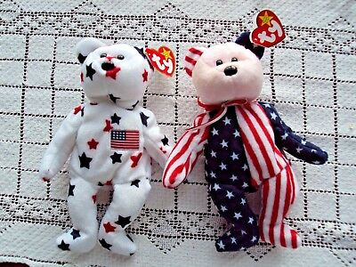 Ty Beanie Babies Glory and Spangle Two Total Bears Great 4th of July Gift NEW