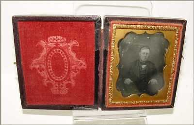 Daguerreotype Photo 9th Plate Lions Bearded Man Holding Book Very Nice Case
