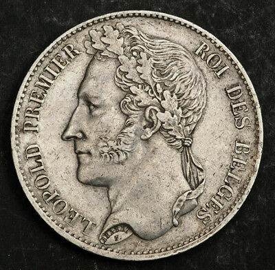 1849, Kingdom of Belgium, Leopold I. Large Silver 5 Francs (5 Frank) Coin. XF!