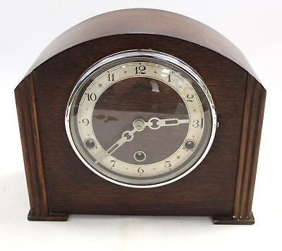 Vintage Art Deco BENTIMA Dark Wood & Chrome MANTEL CLOCK Spares & Repairs - L01