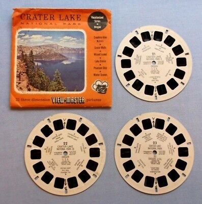 Viewmaster Reels - Crater Lake National Park - Set Of 3 In Good Used Condition