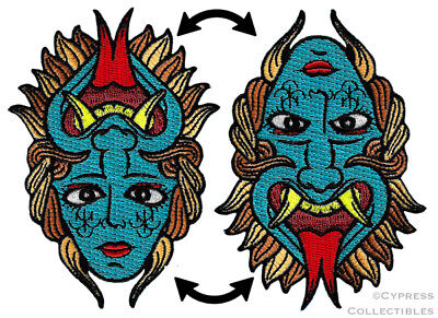 FLIP FACE PATCH iron-on embroidered TATTOO DEVIL DESIGN EMBLEM OPTICAL ILLUSION