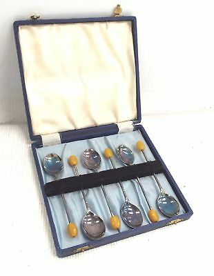 Vintage Collection of SILVER PLATED Coffee Spoons In Original Case - C68
