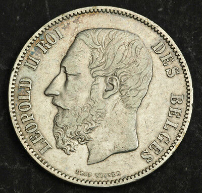 1874, Kingdom of Belgium, Leopold II. Large Silver 5 Francs (5 Frank) Coin. aXF!