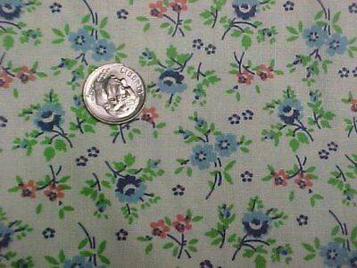BEST Vintage Feedsack Quilt Fabric Doll Tiny Blue Roses Lime 1940s Flour Sack