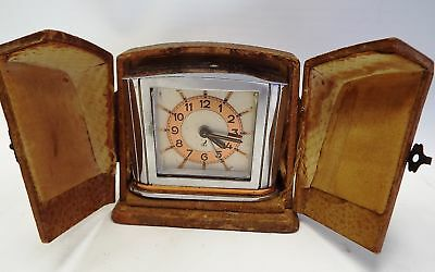 Vintage JAZ French Small Alarm Clock With Case SPARES/REPAIRS - K20