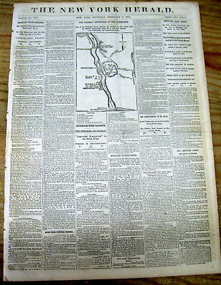 1862 Civil War newspaper w MAP of BATTLE of FT HENRY Tennessee GENERAL US GRANT