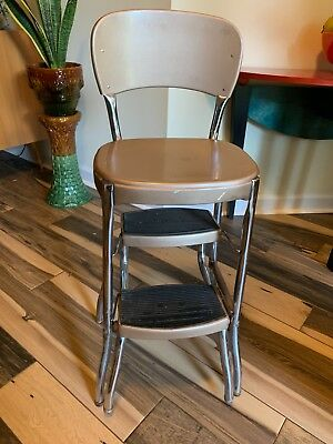 Cosco Vintage 2 step stool 50s metal folding kitchen chair tan w/ rubber treads