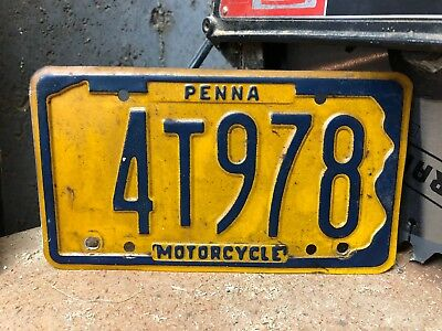 1970? Pennsylvania Motorcycle License Plate P.A. Tag Vintage