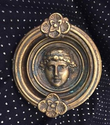 Vintage Italian Brass Adonis /Dionysus Face Door Knocker