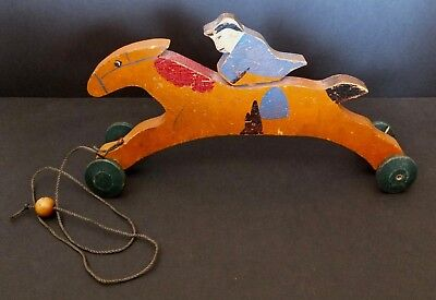 Antique Or Vintage Hand Made Wooden Pull Toy Of Paul Revere On His Midnight Ride