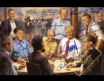 REPRINT 8.5x11 Signed Photo: Presidents of the Republican Club  -A TRUMP Novelty