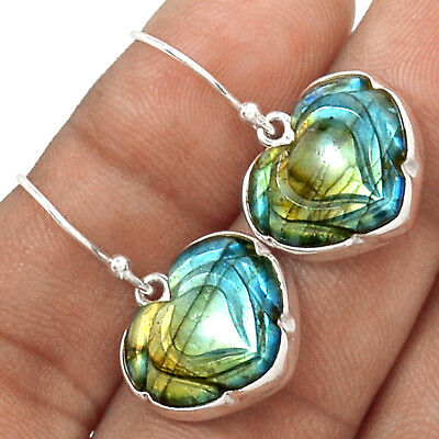 Hand Carved - Labradorite 925 Sterling Silver Earrings Jewelry AE6459