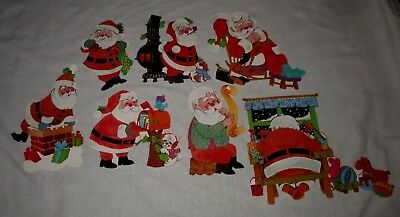 LOT OF 7 VINTAGE 1970s ERA SANTA CLAUS CHRISTMAS DIE CUT DECORATIONS