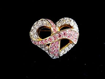 Swarovski Swan Signed Clear & Pink Crystal Hope Heart Brooch Pin Retired