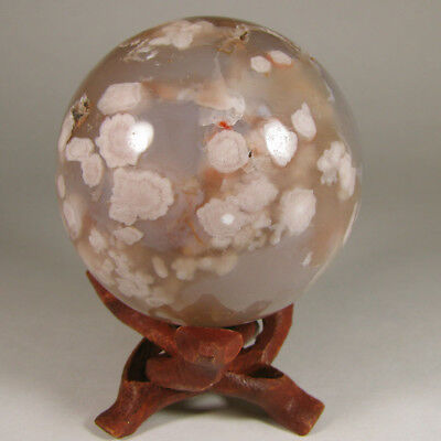 """2.3"""" Plume FLOWER AGATE Crystal Sphere w/ Stand - Madagascar - 60mm"""