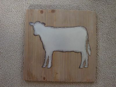 REDUCED Large 15 3/4 Square Farmhouse Decor Metal & Wood Cow Wall Hanging-Rustic