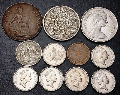 Lot of 11x Great Britain UK Coins - Various Dates and Denominations