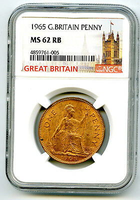 1965 Great Britain Britannia Large Copper Penny Ngc Ms62 Rb Low Mintage
