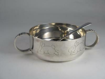 Victorian Silver Plated Christening Gift Feeding Bowl & Spoon JB CHATTERLEY