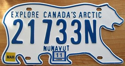Nunavut 2011 POLAR BEAR License Plate SUPERB QUALITY # 21733N