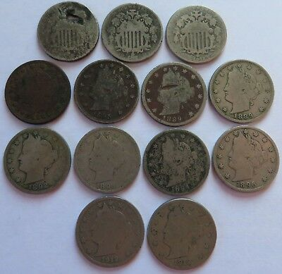 13 Vintage Nickels, Shield + Liberty 1912-D+, 5C coins most with issues (181931F