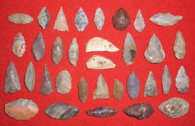 (33) Small Sahara Neolithic Common Points & Tools, Prehistoric African Artifacts