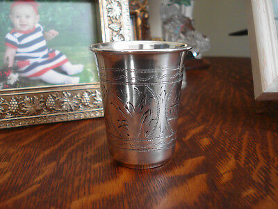 """Antique Russian 84 Sterling Silver Vodka Shot Glass Cup 48 grams 2 3/4"""" High"""