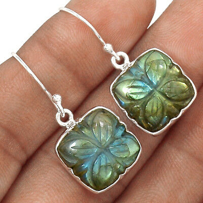 Hand Carved - Labradorite 925 Sterling Silver Earrings Jewelry AE6468
