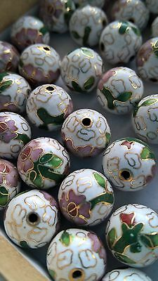 80+ Vintage Cloisonne 12mm Round Beads—White with Pink and Green Floral Accent