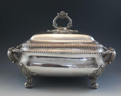 Large 19C English Sheffield Silver Plate Covered Tureen Serving Dish Rectangular