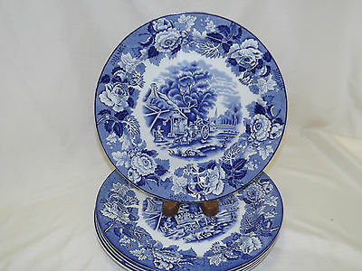 Enoch Woods & Sons Blue Transfer ENGLISH SCENERY 5 Dinner Plates