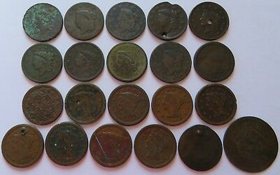 21 Vintage Large Cents with issues, 1817 Classic Head, Coronet, Braided (182042F