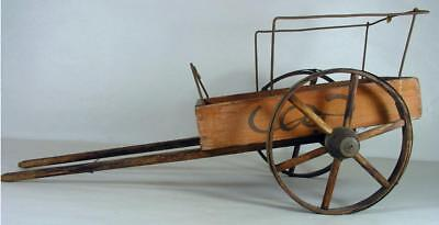 """Antique Wooden Doll Cart Toy Wagon W Paper Labels """"Beats Em All"""" J W Co. Boston"""