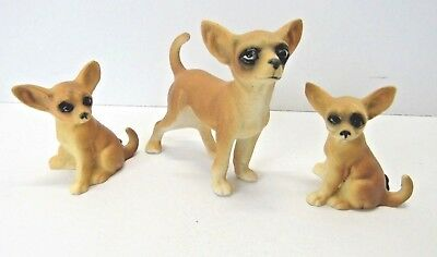 3 Vintage Miniature BONE CHINA CHIHUAHUA FAMILY ~ Foil Label JAPAN