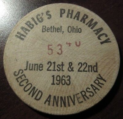 1963 Habig's Pharmacy Bethel, OH Wooden Dollar - Token Ohio