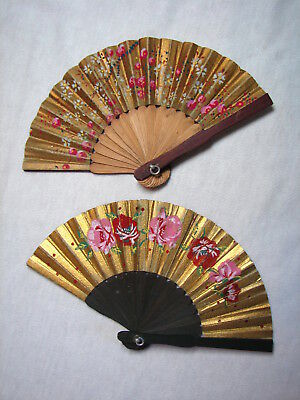 Beautiful PAIR Miniature Vintage Chinese Folding Fans Wall Art Collectibles