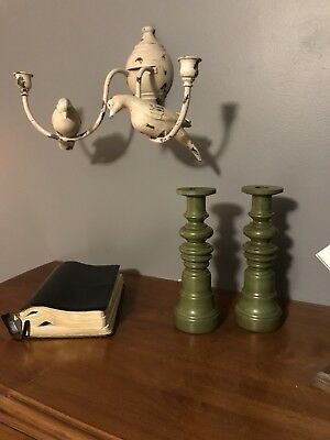 Tell City Chair Company Solid Hard Rock Maple Antique Green Candleholders