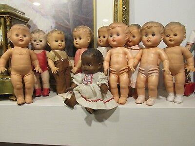 Grupe of Sun Rubber Co, 10   Dolls ~~All in good condition , Marked 1956 Year !!
