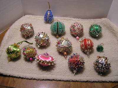 14 Vintage Outstanding Hand Beaded Christmas Ornaments Sequins Beads Satin L@@K!