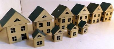 6 Matching Homemade Wooden Christmas Village Toy Putz Houses c1930s